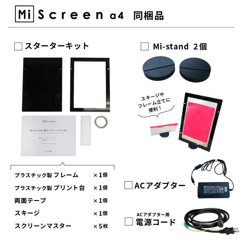 MiScreen a4 同梱品:「スターターキット」「Mi-stand」